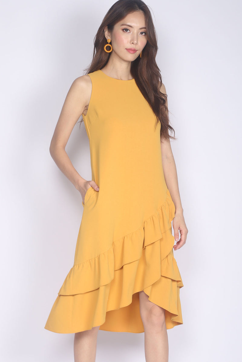 TDC Cimorene Ruffle Tiered Midi Dress In Marigold