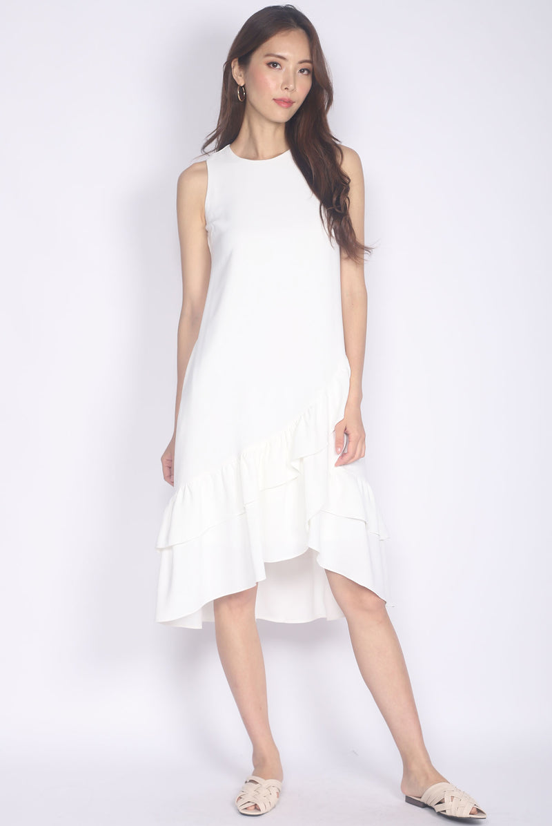 TDC Cimorene Ruffle Tiered Midi Dress In White