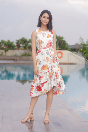 TDC Cimorene Ruffle Tiered Midi Dress In White Floral