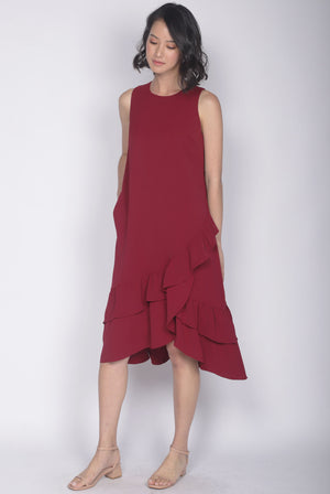 TDC Cimorene Ruffle Tiered Midi Dress In Wine Red