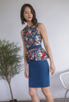 *Premium* TDC Clavel Removable Oriental Collar Peplum Dress In Teal Blue