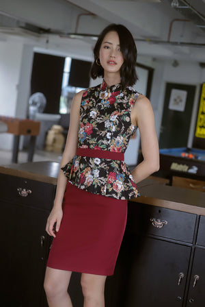 *Premium* TDC Clavel Removable Oriental Collar Peplum Dress In Wine Red