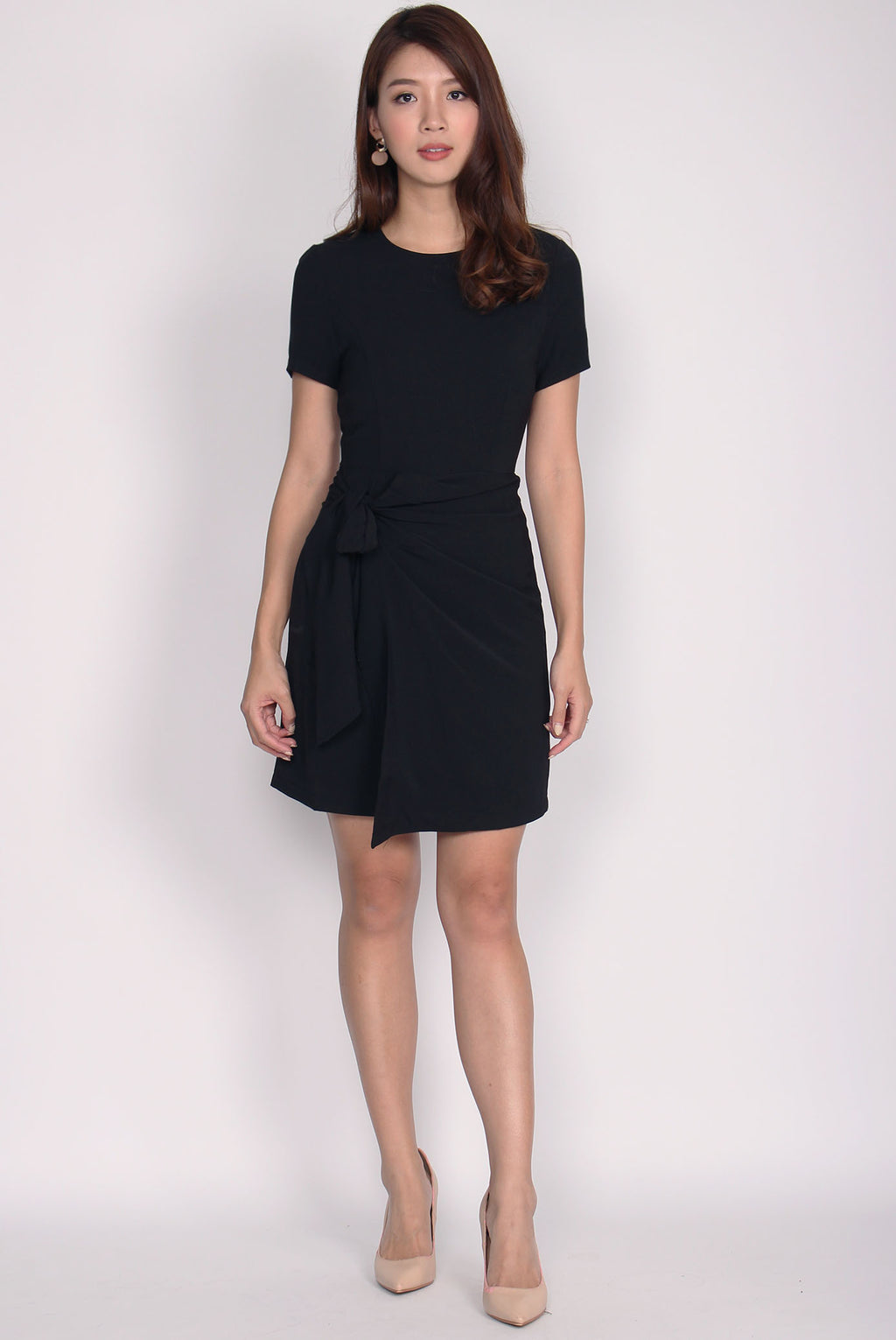 TDC Clover Overlap Dress In Black
