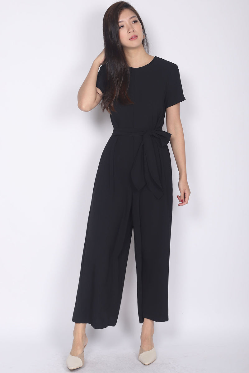 TDC Cosette Tie Sash Jumpsuit In Black