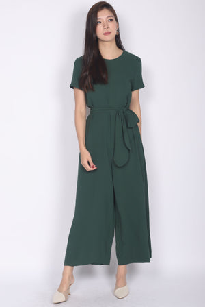 TDC Cosette Tie Sash Jumpsuit In Forest Green