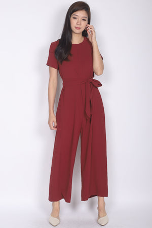 TDC Cosette Tie Sash Jumpsuit In Wine Red