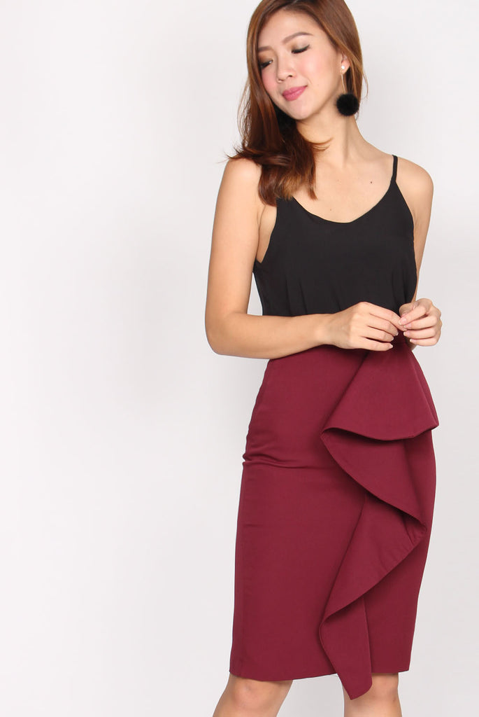 TDC Danielle Peplum Skirt In Wine Red