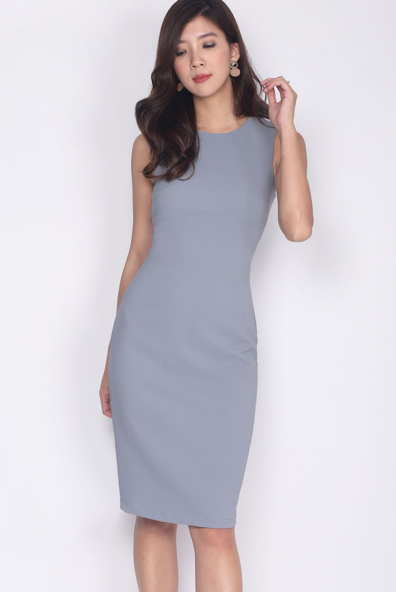 TDC Deasia V Back Pencil Dress In Ash Blue