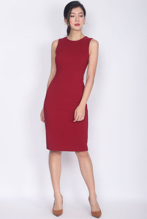 TDC Deasia V Back Pencil Dress In Wine Red