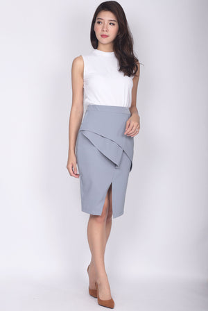 TDC Dimity Peplum Pencil Skirt In Ash Blue
