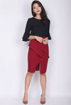 TDC Dimity Peplum Pencil Skirt In Wine Red