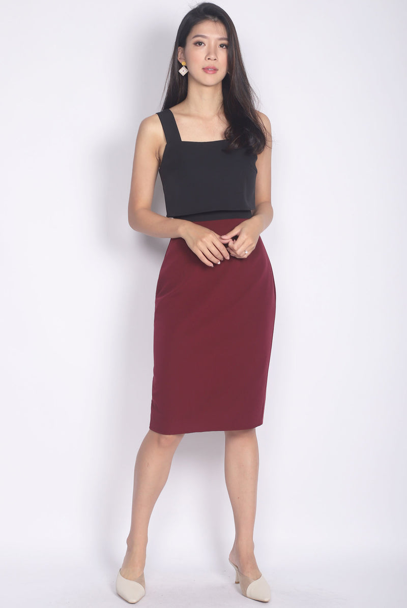 TDC Dolorea Tiered Dress In Black/Wine