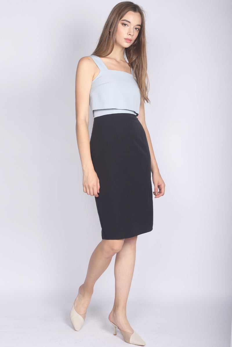 TDC Dolorea Tiered Dress In Blue/Black
