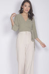 TDC Dovie Wrap Top In Sage