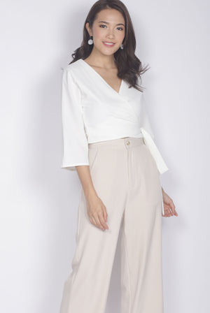 TDC Dovie Wrap Top In White