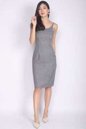 TDC Elisabet Spag Work Dress In Grey Tweed