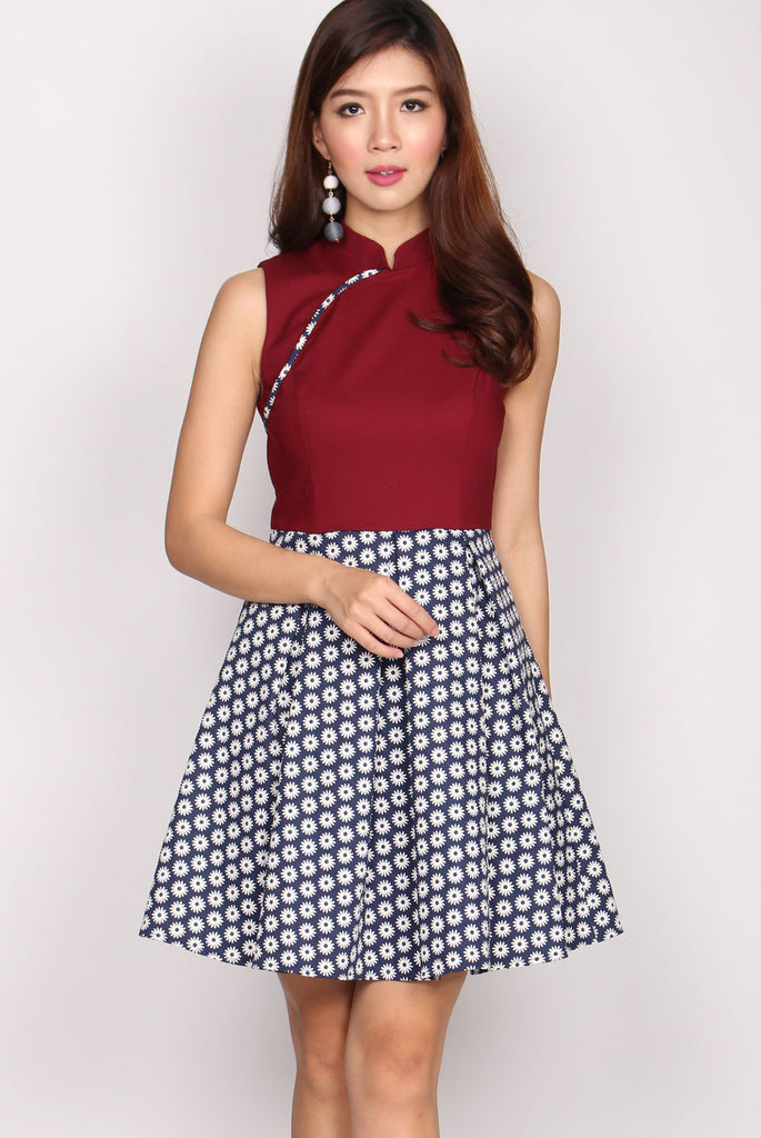 TDC Elisha Colour Block Cheongsam Dress In Wine Red