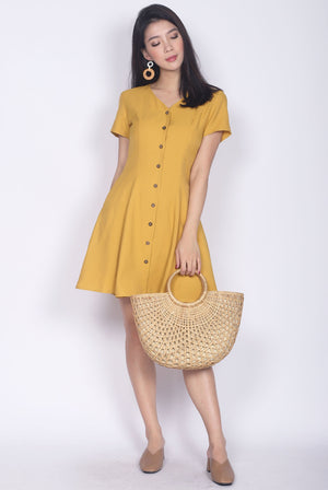 TDC Elspeth Sleeved Buttons Dress In Mustard