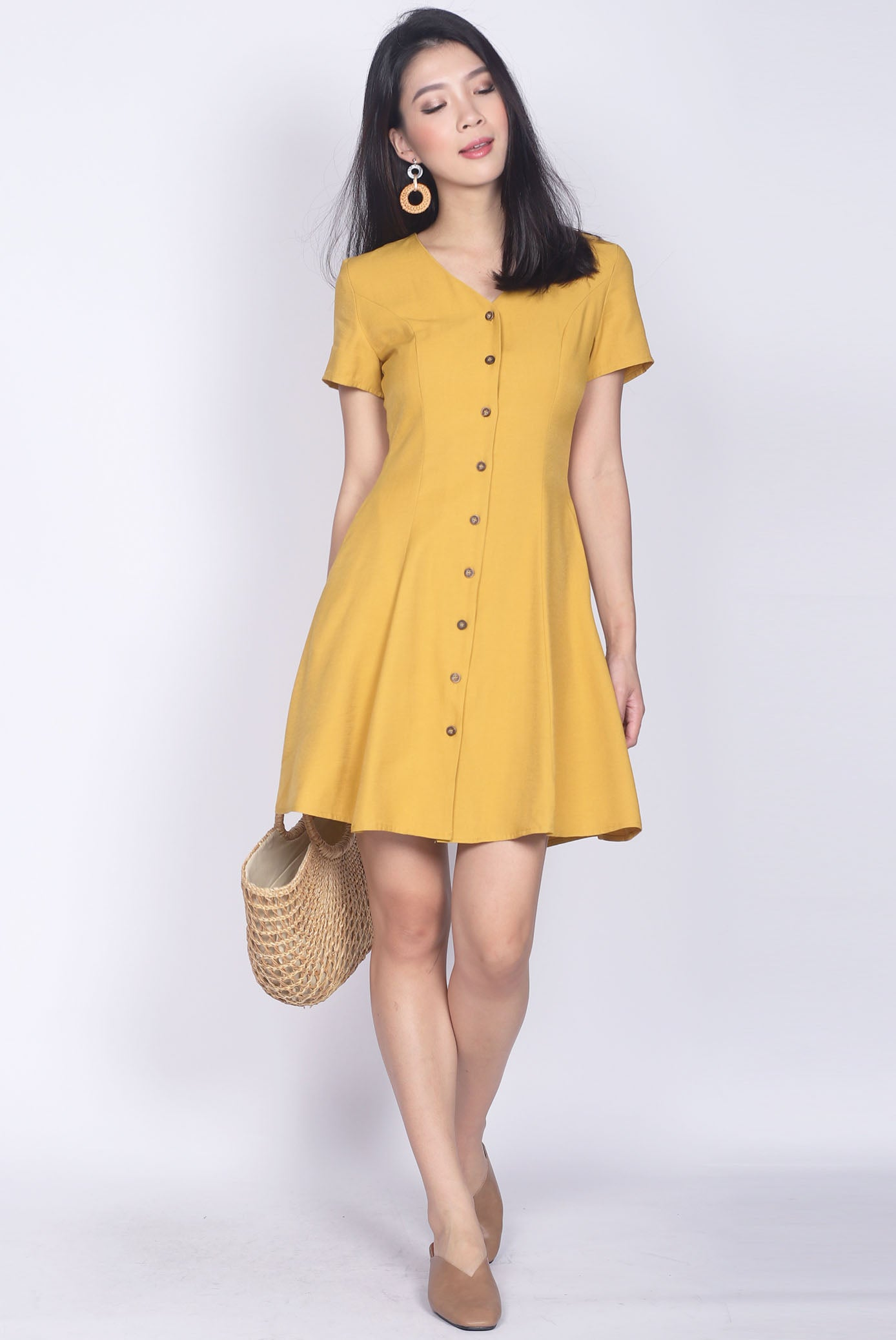 0c101259883 TDC Elspeth Sleeved Buttons Dress In Mustard – The Design Closets