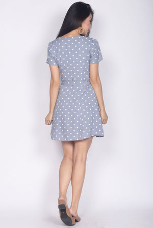 TDC Elspeth Sleeved Buttons Dress In Blue Polka