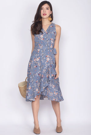 TDC Elyse Ruffle Wrap Dress In Blue Floral