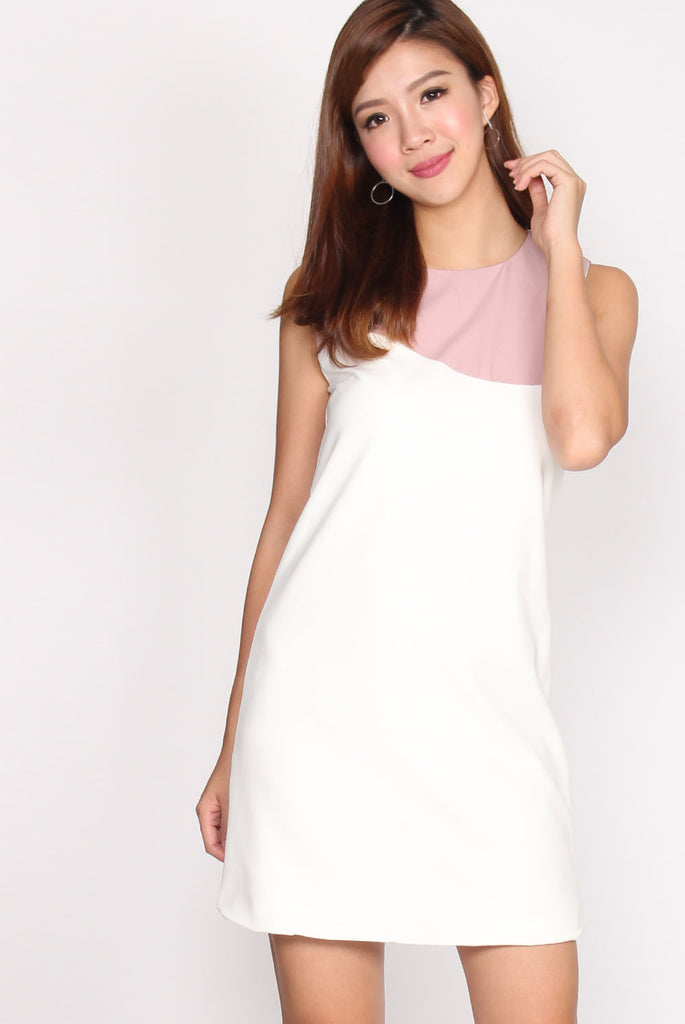 TDC Emerson Duotone Shift Dress In Blush