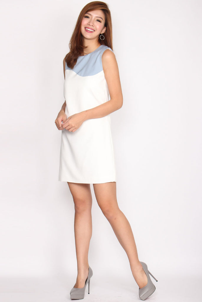 TDC Emerson Duotone Shift Dress In Skyblue