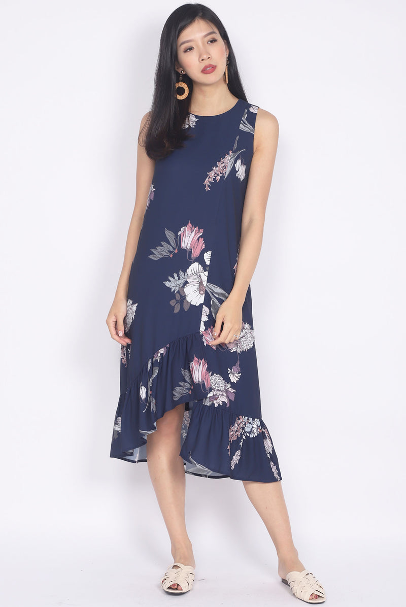 TDC Emiline Floral Step Midi Dress In Navy Blue