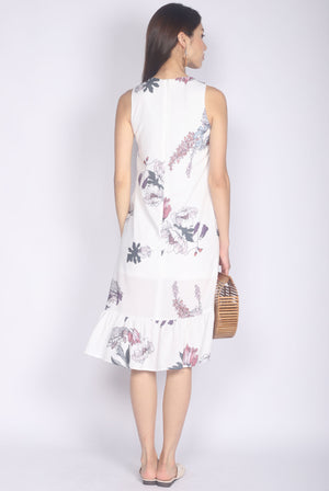 TDC Emiline Floral Step Midi Dress In White