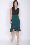 *Premium* TDC Esmee Ruffle Mermaid Dress In Black/Forest