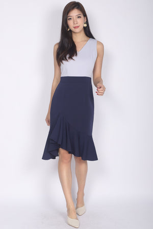 *Premium* TDC Esmee Ruffle Mermaid Dress In Grey/Navy