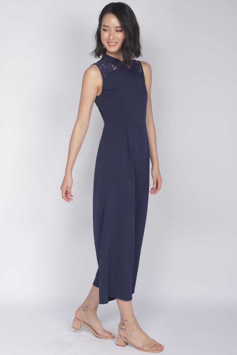 TDC Fang Lace Cheongsam Jumpsuit In Navy Blue