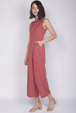 TDC Fang Lace Cheongsam Jumpsuit In Tea Rose