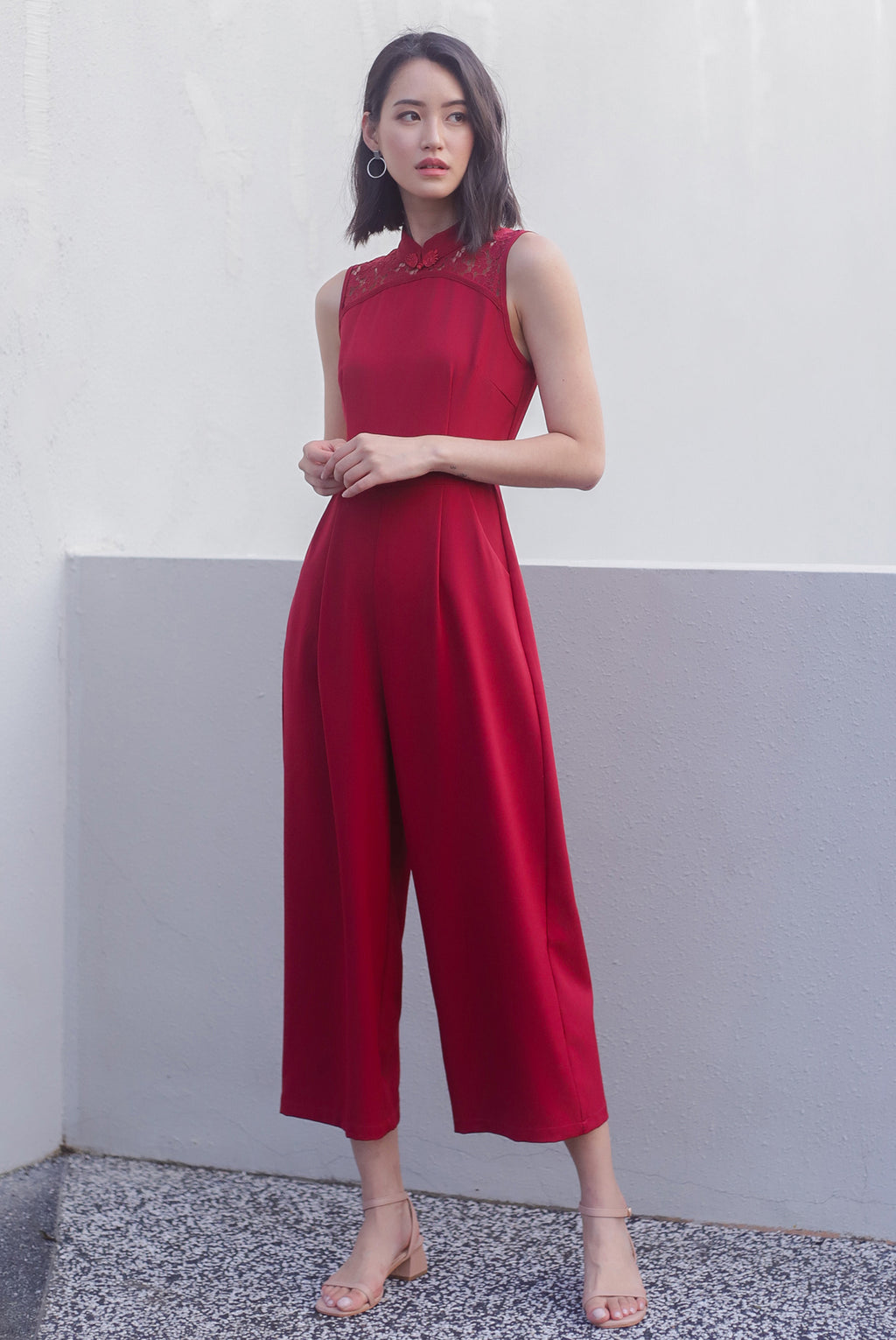 TDC Fang Lace Cheongsam Jumpsuit In Wine Red