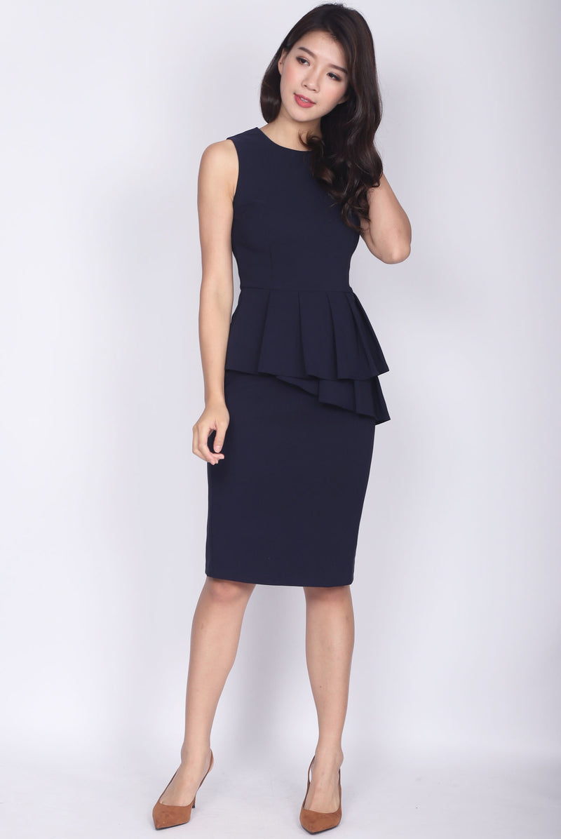 TDC Feronia Tiered Peplum Dress In Navy Blue