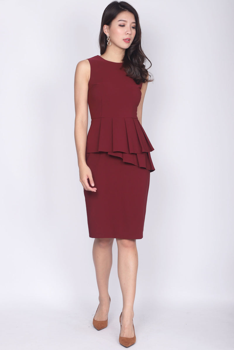 TDC Feronia Tiered Peplum Dress In Wine Red
