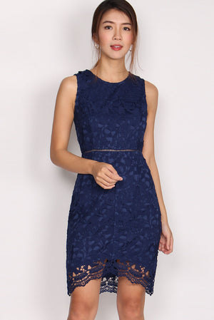 TDC Fleurette Fishtail Crochet Dress In Navy Blue