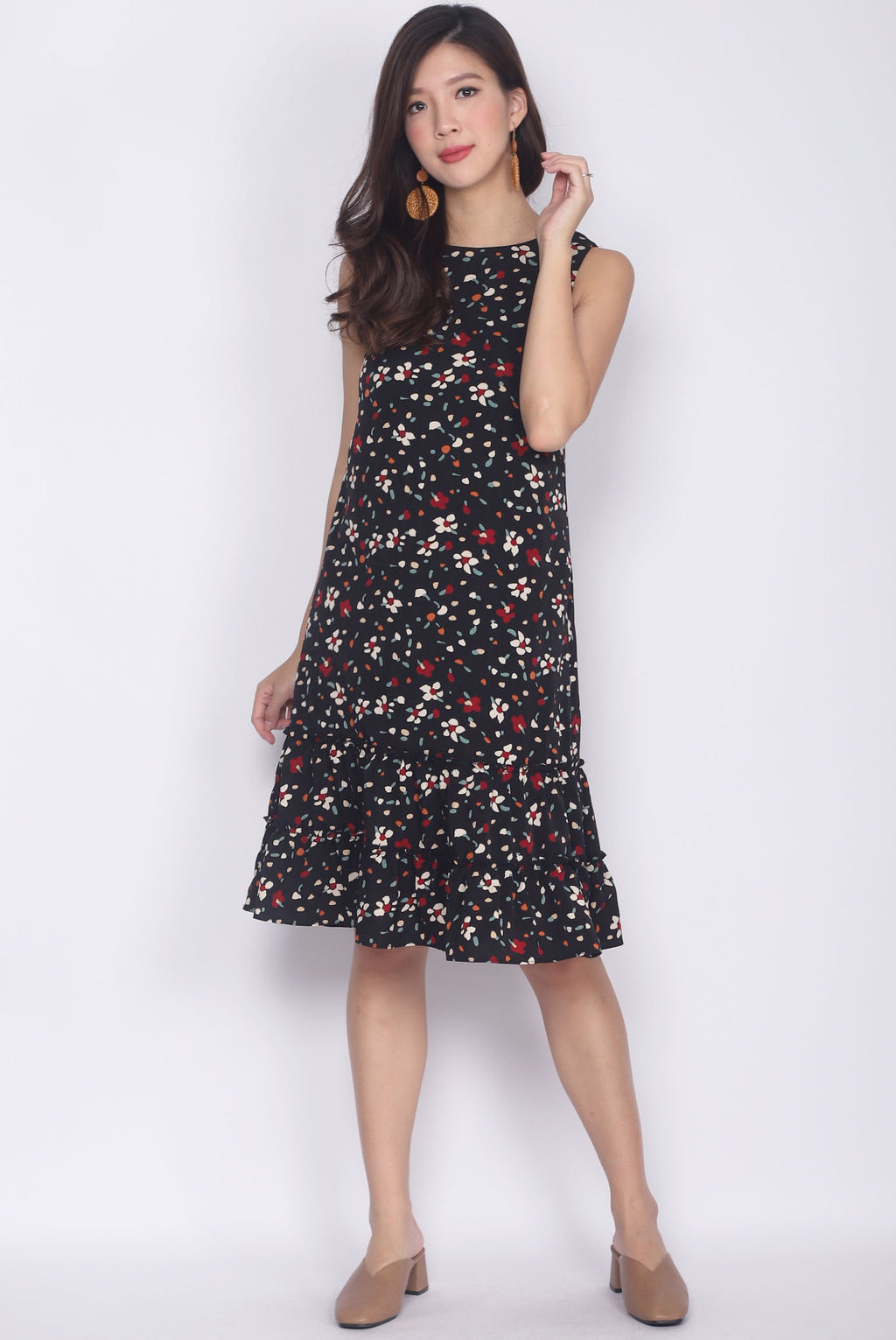 TDC Florrie Colourful Paint Tiered Dress In Black
