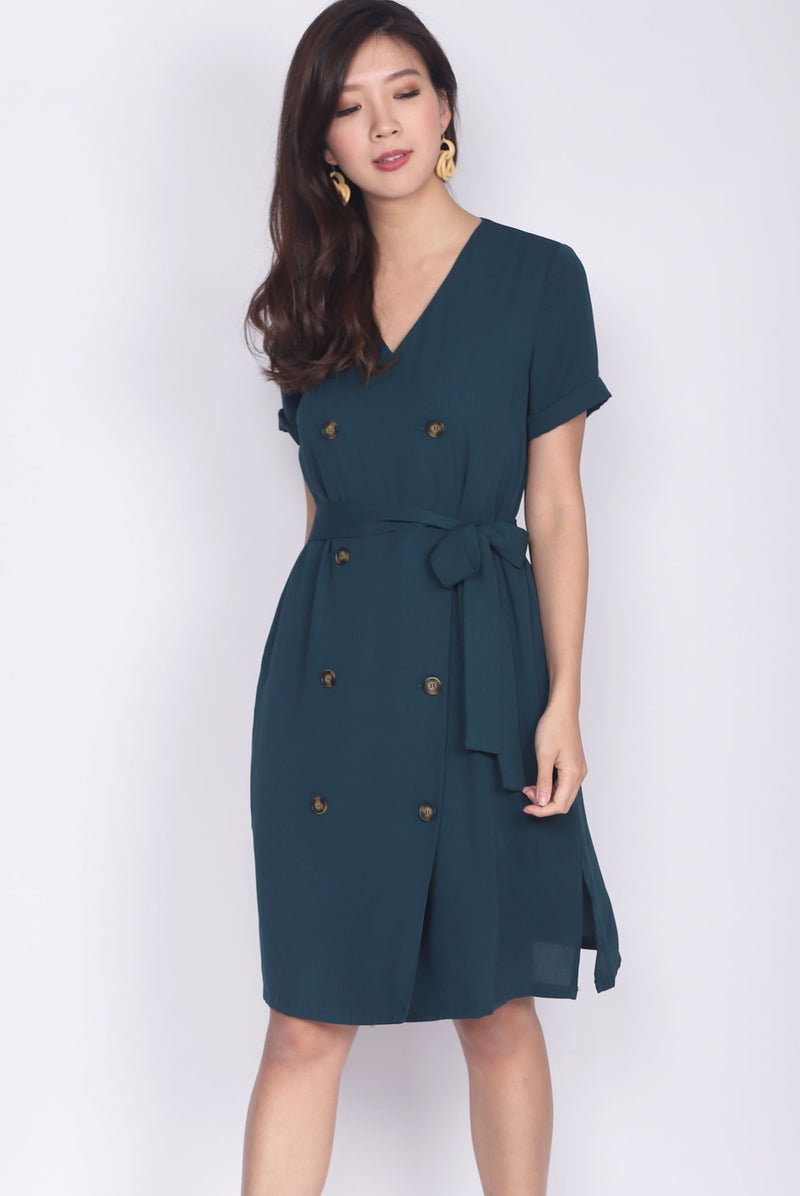 TDC Garrison Buttons Shirt Dress In Forest Green