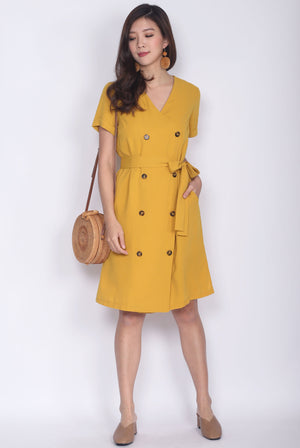 TDC Garrison Buttons Shirt Dress In Mustard