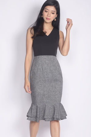 TDC Gelsey Tiered Mermaid Dress In Black Tweed