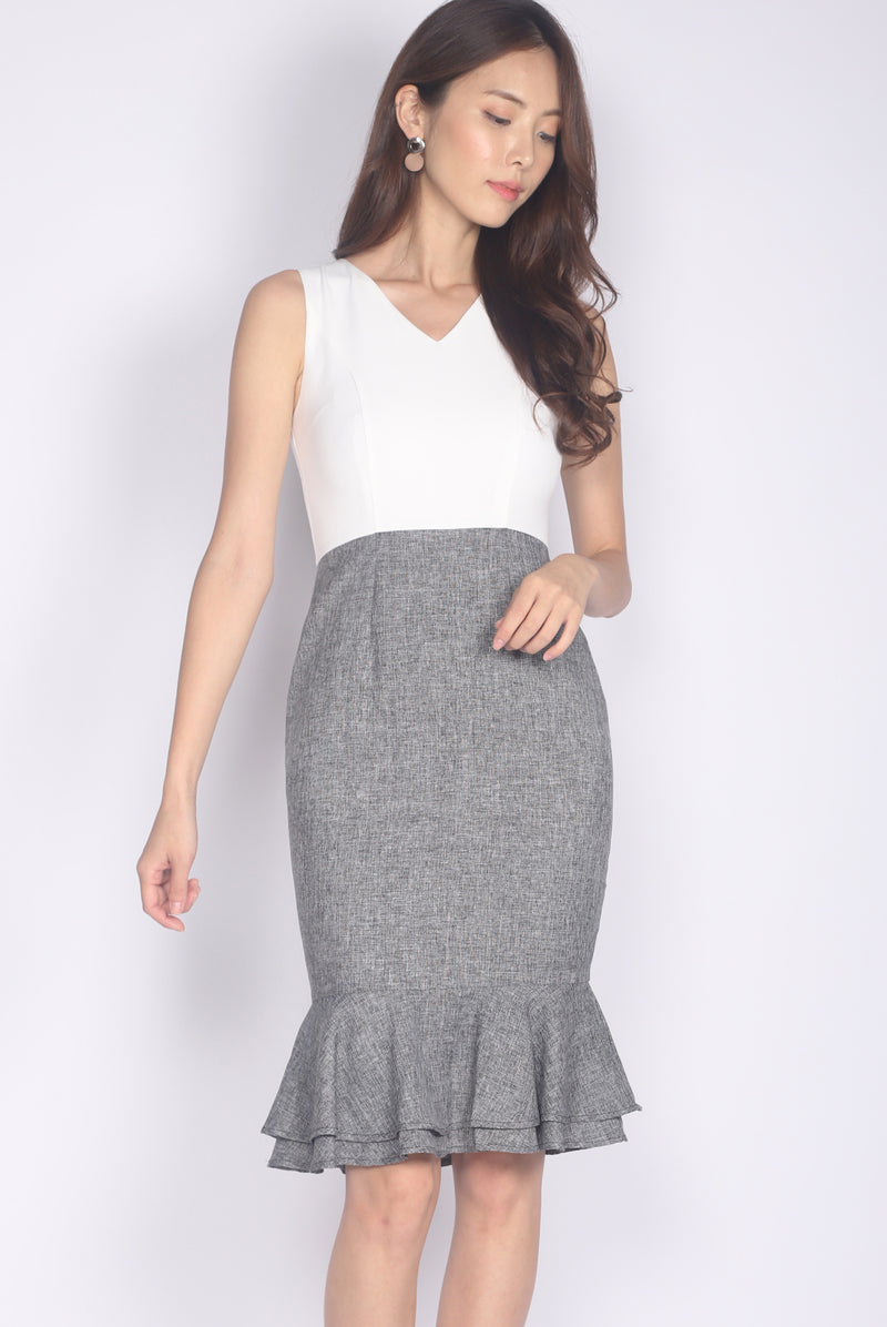 TDC Gelsey Tiered Mermaid Dress In White Tweed