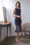 *Premium* TDC Greisy Crochet Removable Oriental Collar Dress In Navy Blue