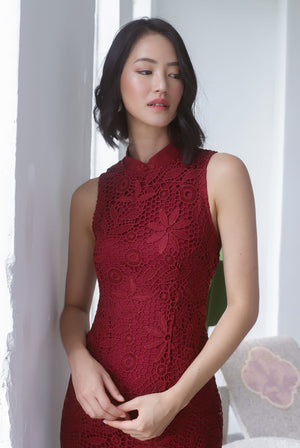 *Premium* TDC Greisy Crochet Removable Oriental Collar Dress In Wine Red