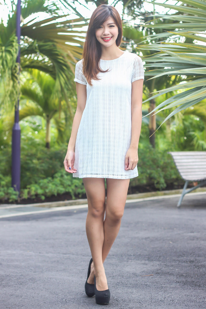 TDC Grids Crochet Shift Dress In White