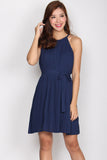 TDC Gwendolyn Pleated Dress In Navy Blue