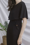 TDC Harmoni Cape Buttons Dress In Black