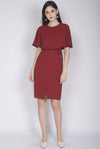 TDC Harmoni Cape Buttons Dress In Wine Red