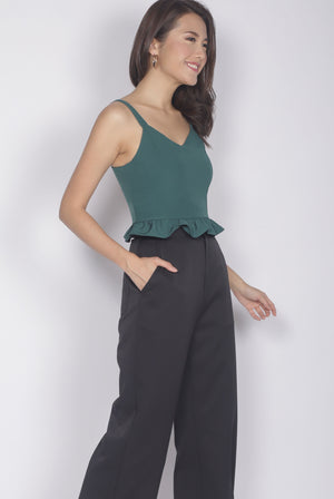 TDC Hazel Ruffle Hem Crop Top In Forest Green