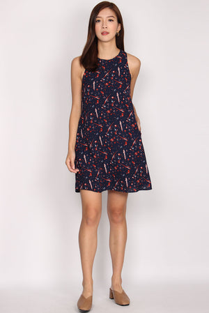 TDC Helrene Trapeze Dress In Navy Abstract